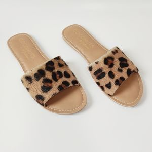 Coconuts By Matisse Leopard Sandals Slides 8 Fur